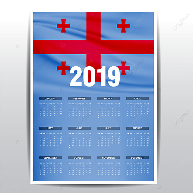 Gegia Calendario.Calendar 2019 Georgia Flag Background English Language