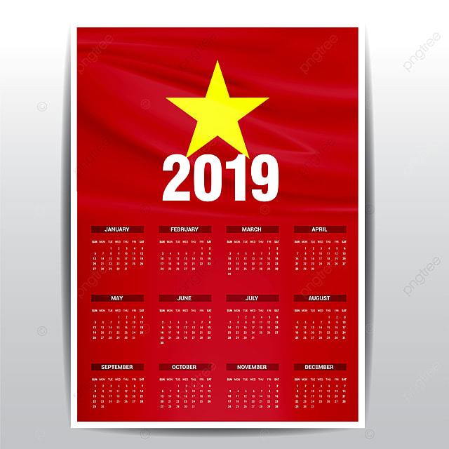 Kalender 2019 Vietnam Flagge Hintergrund Der Englischen