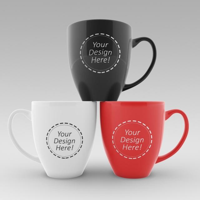 maqueta intercambiable plantilla de dise u00f1o de tres tazas de caf u00e9 descarga gratuita de plantilla