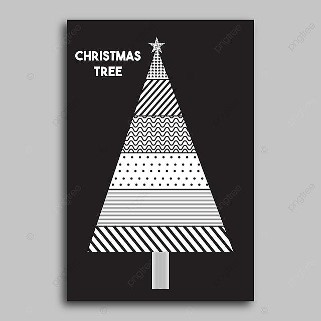 Gambar Pohon Natal Hitam Dan Putih Templat Untuk Muat Turun Percuma Di Pngtree