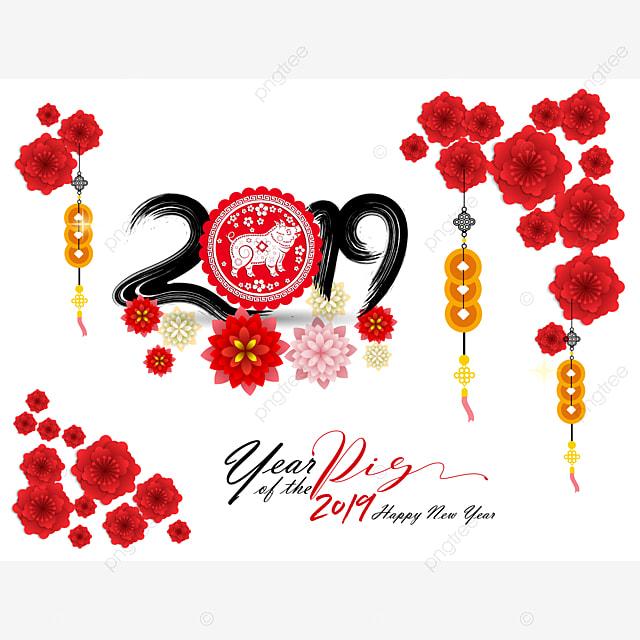 Glücklich Das Chinesische Neue Jahr 2019 Jahr Des