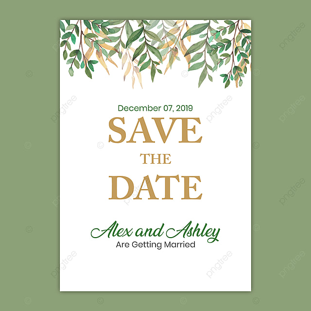 Save The Date Wedding Invitation With Green Leaf A5 Flyer