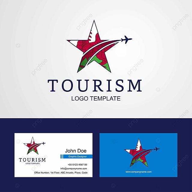 travel wales flag creative star logo and business card. Black Bedroom Furniture Sets. Home Design Ideas