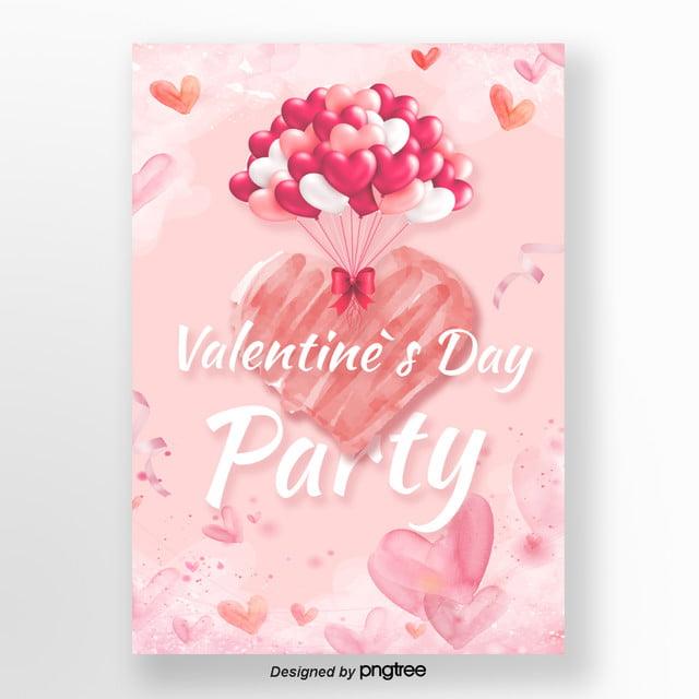 Liebe Rosa Luftballons Valentinstag Poster Vorlage Zum Kostenlosen