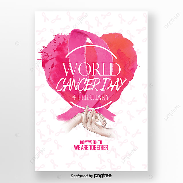 fresh aesthetic and simple world cancer day posters template for