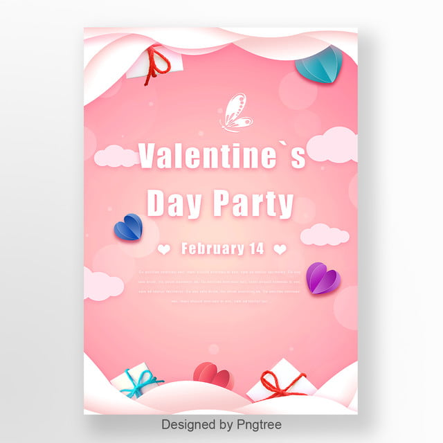 Pink Romantic Valentines Day Party Poster Template For Free Download