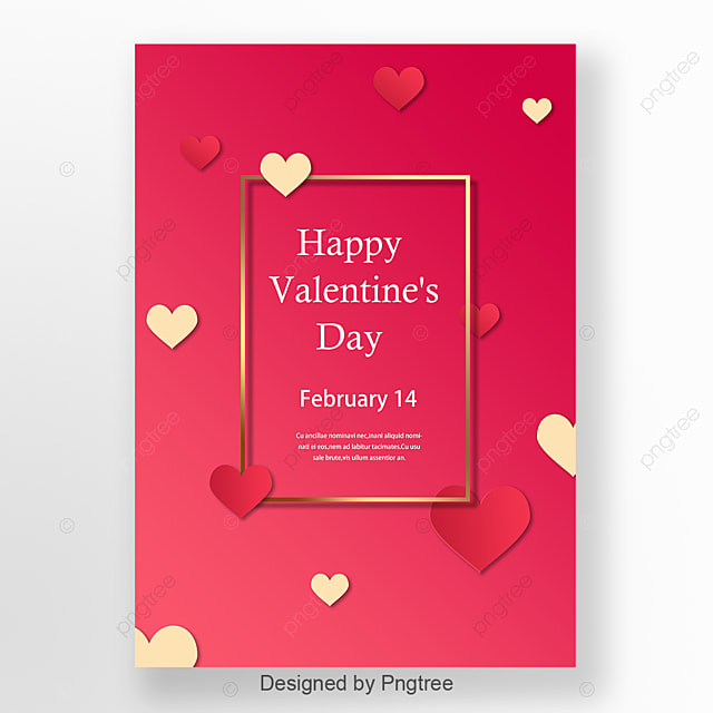 Pink Golden Luxurious Minimalist Valentines Day Posters Template