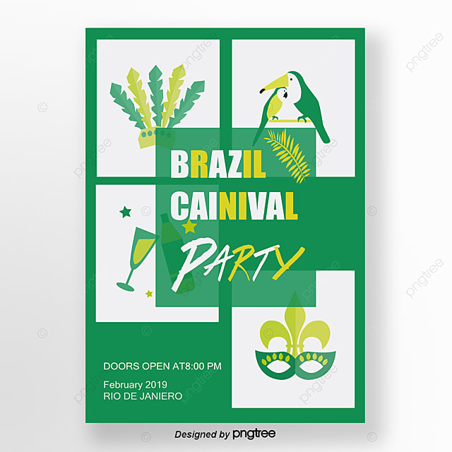 green brazilian carnival poster template for free download on pngtree