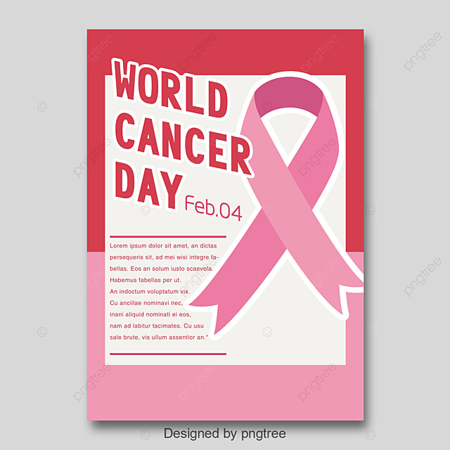 world cancer day poster pink ribbon simple poster template for free