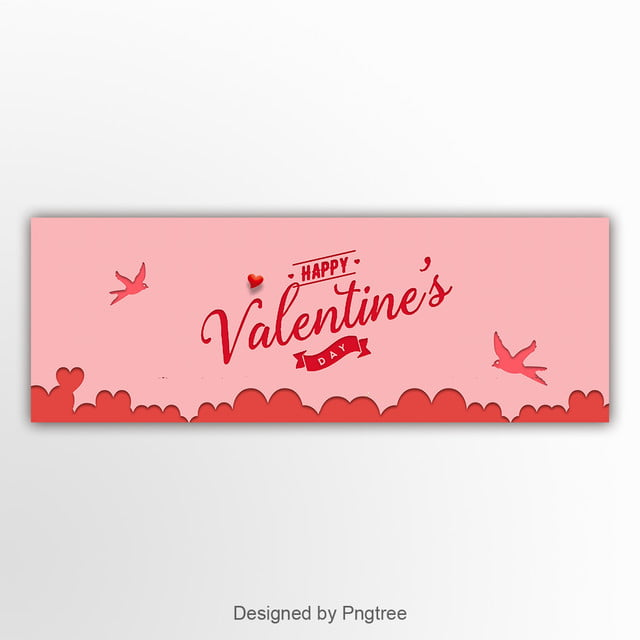 Pink Paper Cut Projection Valentines Day Banner Template