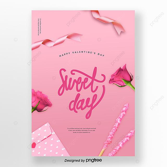Rosa Rose Plakat Schone Und Warme Valentinstag Haare Vorlage Zum