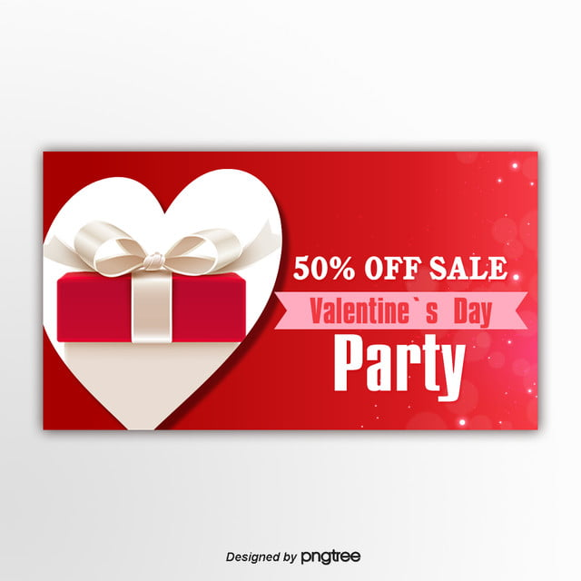 Red Simple Gift Box Valentines Day Promotion Banner Template For