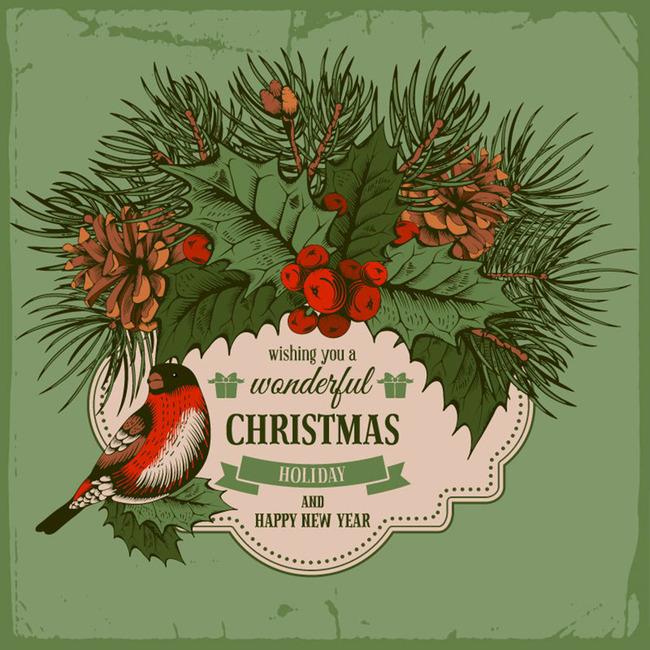 枸骨と鳥クリスマス新年カードベクトル図 ベクトル クリスマス 新年のクリスマス 背景画像