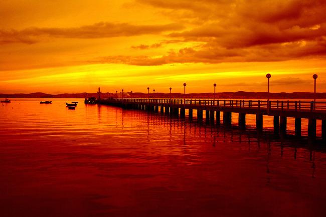 桟橋支持装置サンセット背景 海 空 反射 背景画像