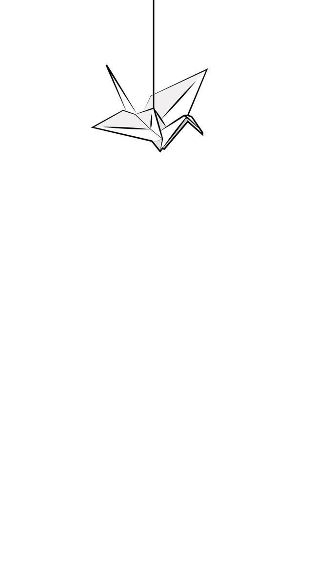 Hand Drawn Sketch Paper Cranes Literary Illustration Background