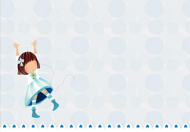 Fresh blue cartoon menina poster template background Fresco Pintados à Imagem Do Plano De Fundo