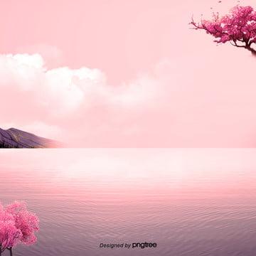 粉紅色背景圖片上花的海洋 , 花, 海, 背景影像 背景圖片