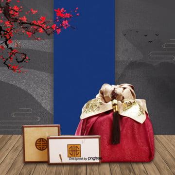전통 고풍 새해 배경 그림 , 전통적 원소, 전통 문양, 대기 배경 이미지