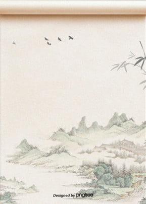 पारंपरिक पहाड़ पानी स्याही चित्रकला  नए साल पृष्ठभूमि , पृष्ठभूमि, रेट्रो, गणित पृष्ठभूमि छवि