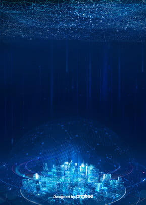 the city deep blue technology background , Technology, City, In The Future Background image