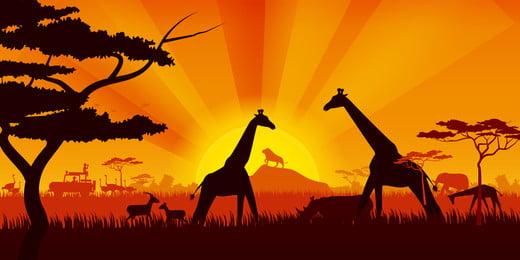 घास मृग जिराफ ब्रेड ट्री, चित्रण, सवाना, जंगली पृष्ठभूमि छवि