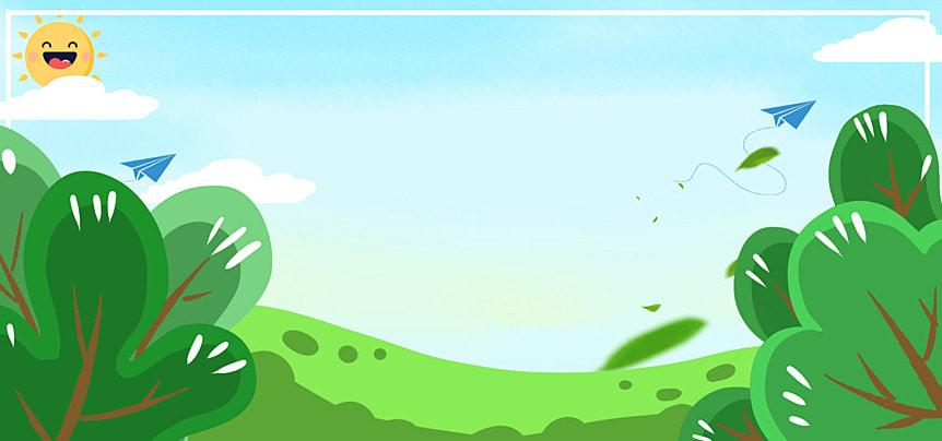푸른 하늘 나무 봄 만화 , 나무, 푸른, 나뭇 가지 배경 이미지