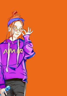 orange minimalistic creative hair salon poster background , Orange, Simple, Creative Background image