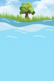big tree grassland clear sea water , Public Welfare, Background Material, Clear Фоновый рисунок