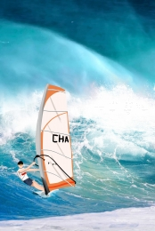 Blue sea surf mobile phone end H5 background , Blue, Sea, Surfing Background image