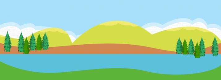 phim hoạt hình phong cảnh vật liệu phong cảnh rừng núi ngày nắng, Nền, Phim Hoạt Hình Phẳng, Vật Ảnh nền