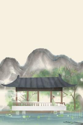 水墨畫 竹子 精美桃花 桃花 , 房子, 竹子, 桃花 背景圖片