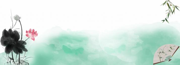 中國風 水墨 荷花 荷葉 扇子 中國風 龍背景圖庫