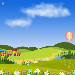 ट्रेन के माध्यम से घास के मैदान के दृश्य हाथ से पेंट कार्टून बच्चों की मस्ती बच्चों के पहनने , स्टेशनरी, बच्चों के जूते, हाथ से पेंट पृष्ठभूमि छवि