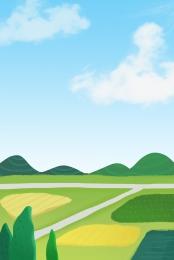 green outdoor small fresh grass , Outdoor, Cartoon, Vector Material ภาพพื้นหลัง