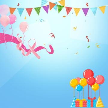 festive happy birthday ribbon triangle flag , Balloon, Balloon, Greeting Card Imagem de fundo