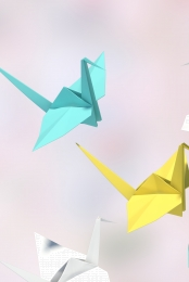 simple small fresh thousand paper cranes enamel , Enamel, H5, Fresh Hintergrundbild