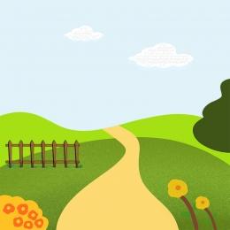 春の背景 漫画の子供らしい 草 春 , 春の背景, ランドセル, 子供服 背景画像