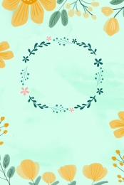 spring promotion wreath butterfly , H5 Background Material, Hand Drawn Flower, Spring Фоновый рисунок