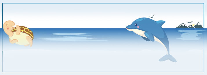 Taobao Blue Ocean Dolphin Turtle Poster Background Banner, Blue, Ocean, Dolphin, Background image