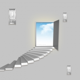 three dimensional gray door staircase background illustration , Three-dimensional, Grey, Stairs Background image