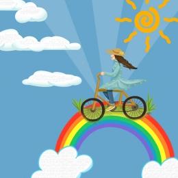 파란색 배경 만화 배경 만화 자전거 , 녹색, 봄, 만화 배경 배경 이미지