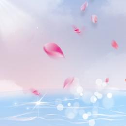 藍天背景 藍天白雲 粉色花瓣 綠葉 , 綠葉, 主圖, 香水 背景圖片