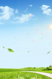 blue sky white clouds green land green leaves , Clouds, Green, Sunshine ภาพพื้นหลัง