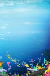 Blue underwater world big fish H5 background , Blue, Seabed, World Background image