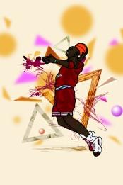 cartoon basketball ball game geometric color block background material , Cartoon, Basketball, Ball Game Background image
