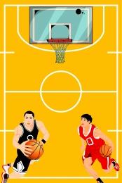 cartoon flat basketball texture ball game background material , Cartoon, Flat, Basketball Background image