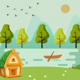 cartoon forest material vector , Cartoon, Poster, Picture Book Imagem de fundo