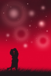 cartoon red loving couple h5 background , Cartoon, Red, Love Background image