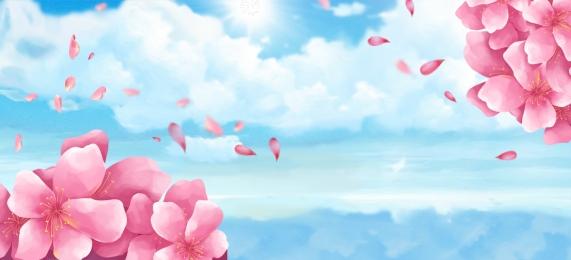 桃花節 桃花 文藝 小清新, 夢幻, 桃花, 廣告 背景圖片