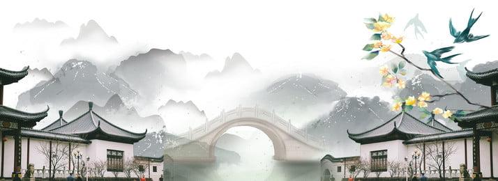 चीनी शैली चीनी चित्रकला प्राचीन वास्तुकला जीवन, प्राचीन, प्राचीन, शैली पृष्ठभूमि छवि